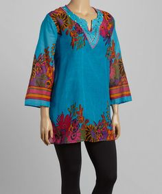 Another great find on #zulily! Blue Floral Studded Tunic - Plus #zulilyfinds