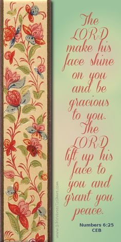 """""""The LORD make his face shine on you and be gracious to you. The LORD lift up his face to you and grant you peace."""" Numbers (CEB) - Bible Verses To Share Scripture Verses, Bible Scriptures, Faith Quotes, Bible Quotes, Favorite Bible Verses, Lord And Savior, Power Of Prayer, Christian Inspiration, God Is Good"""