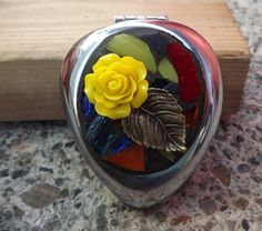 Mosaic Yellow Rose Stained Glass Pill by PiecesofhomeMosaics