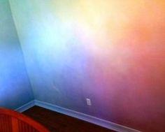 Lazure painting Rainbow- Bella's room Unicorn Bedroom, Baby Bedroom, Girls Bedroom, Bedroom Decor, Room Girls, Bedroom Wall, Lazure Painting, Rainbow Bedroom, Rainbow Painting
