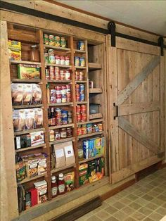 In wall pantry with barn door