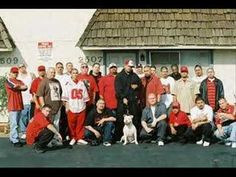 "This shows a group of young men wearing mostly red because they are representing who are known as ""Northerners"" or ""Nortenos."""