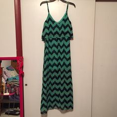 "Chevron maxi dress Chevron print maxi dress, brand Almost Famous. Selling for my sister, she said it came from Cato's. Would fit a shorter person better, I am 5'7"" and it would be too short on me. Does have some fraying that can be seen in last picture. Otherwise good condition. Has short slip under top layer that can be seen in second picture. Will bundle with other items. Make offers Almost Famous Dresses Maxi"