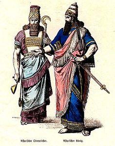 Plate #2a - Ancient Near East - Assyrian, Persian, Egyptian. Assyrian High Priest, Assyrian King