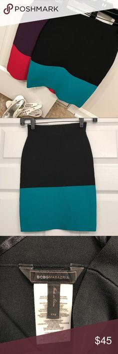 BCBGMaxAzria Two Tone Bandage Skirt $30 Each XXS BCBGMaxAzria Two Tone Bandage Skirt $30 Each Size XXS.  Black/Green XXS and Purple/Pink XXS.  Worn once each.  Just like new. BCBGMaxAzria Skirts Mini