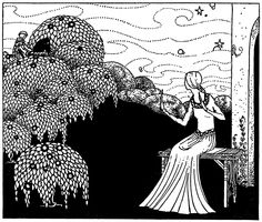 """She saw a man arrive in a laced hat and coat. From """"Old French Fairy Tales"""" illustrated by Virginia Frances Sterret (1920)"""