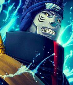 Kisame could absorb chakra. His signature weapon was Samehada, a sentient, scale-covered sword, that shaves flesh instead of cutting it. It is also capable of detect and absorb chakra. He can alter an entire battlefield by create a large volume of water to give him the field advantage, and to use for attacks.
