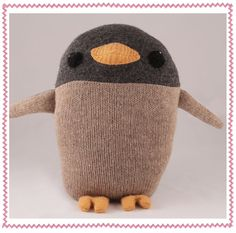 Lou the Penguin from sweatertoys! by Caitlin Wicker (made from recycled sweater and polyfill from recycled bottles)