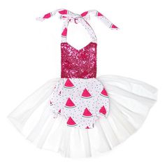 Pink Watermelon Sequin Tulle Tutu Romper For Newborn, Baby, Toddler, and Girls