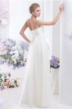 Chic A-Line Strapless Empire Floor Length Tulle Wedding Dress CWLF13002 #cocomelody