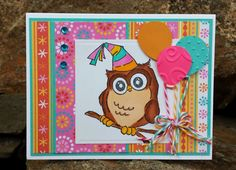 Art Impressions Rubber Stamps: Ai Whoots: Birthday Whoot.  Handmade birthday card. owl, balloons