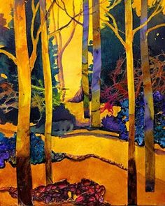 """CAROL NELSON FINE ART BLOG: Mixed Media Abstracted Trees Collage, """"Sunny Day 3""""…"""