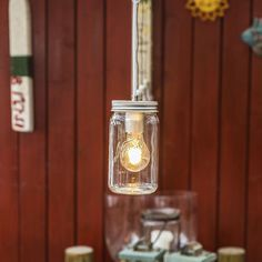 Norgesglasset lampe med LED-pære - Hyttefeber.no Mason Jar Lamp, Light Bulb, Table Lamp, Led, Lighting, Glass, Design, Home Decor, Products