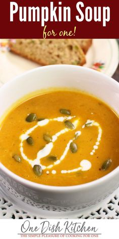 This pumpkin soup is one of my favorite fall soups. It's easy to make and can be ready in less than 30 minutes! Made with canned pumpkin, onions, garlic, broth, and the warm spices of fall. It's an absolutely delicious soup recipe! | One Dish Kitchen | #soup #pumpkinrecipes #cannedpumpkin #pumpkinsoup #singleserving #cookingforone #recipeforone #smallbatch Pumpkin Soup, Canned Pumpkin, Pumpkin Recipes, Soup Recipes, Fall Recipes, Cooking For One, Batch Cooking, Meals For One, Kitchen Dishes