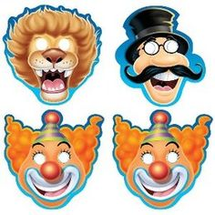 Maskers Circus figuren -  Een set met 8 leuke kartonnen kindermaskers van circus figuren. Grappig om op te zetten of mee te geven aan het eind van een circus themafeest.