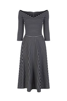 Black and White Striped 3/4 Sleeve Swing Dress