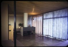 Entenza residence, Pacific Palisades, Calif., 1949. http://digitallibrary.usc.edu/cdm/ref/collection/p15799coll42/id/746  Interior photograph of living quarters, draperies closed, residence of John Entenza (Art & Architecture Case study house #9), 205 Chautauqua Boulevard, Pacific Palisades, California, 1949. Designed by #Eames and #Saarinen, Associated Architects.