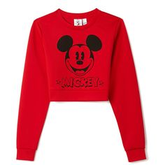 Forever 21 Classic Mickey Crop Top ($12) ❤ liked on Polyvore featuring tops, shirts, sweaters, crop tops, jumpers, long-sleeve crop tops, red long sleeve shirt, red long sleeve top, forever 21 and crop shirt