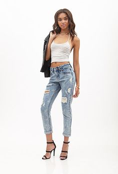 Mineral Wash Boyfriend Jeans   FOREVER 21 - 2000137724