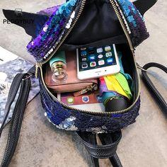 Muoti silkit Naisten Reput Pienet Laukut söpöt siivet nahka reppu Tytöt  Shining Glitter Party Travel 807589f008