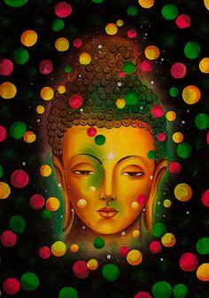 LORD BUDDHA - Farbe psychedelische Kunst Hand bemalte handgefertigte UV Acryl fluoreszierende Malerei Blacklight aktiv Kulisse Original