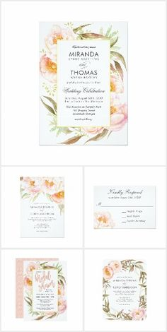 Lush Pink Peonies Watercolor Floral WeddingA beautifully romantic collection of wedding and event products featuring lush pink peonies and trailing greenery in subtle watercolor hues. Coordinating paper products include wedding invitations, bridal shower invitations, RSVP cards, table number cards, a menu template, envelopes, postage stamps, wine labels, paper napkins, and more.