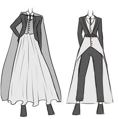 Wedding wears for androgynous/nonbinary/genderfluid people - Clothes - Wedding wears for androgynous/nonbinary/genderfluid people Informations About Wedding wears for andr - Prom Outfits, Cute Outfits, Fashion Outfits, Fashion Design Drawings, Fashion Sketches, Mode Cool, Mode Steampunk, Kleidung Design, Drawing Anime Clothes