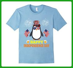 Mens Penguin Happy Independence Day Flag Hat Firework Beer Shirt Small Baby Blue - Food and drink shirts (*Amazon Partner-Link)