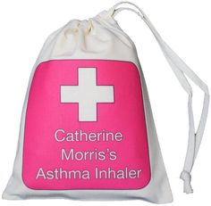Personalised Pink Cross - Asthma Inhaler & Spacer bag - XS drawstring bag -EMPTY