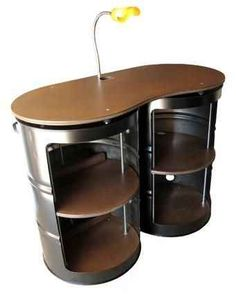 55 gallon drum steel cabinet-this could be my work desk so I wouldn't have to sit all day! Car Furniture, Barrel Furniture, Recycled Furniture, Metal Furniture, Industrial Furniture, Furniture Making, Furniture Buyers, Rustic Industrial, Industrial Design