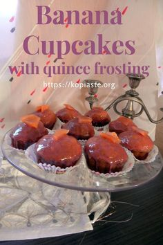 These Banana Cupcakes with Chocolate Quince Glazing are quick and easy to make and a great way to use up ripe bananas. My Dessert, Dessert Recipes, White Chocolate Strawberries, Types Of Desserts, Banana Cupcakes, Baking With Kids, Banana Recipes, Savoury Cake, Greek Recipes