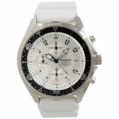 Casio Men's Stainless Steel Chronograph Watch, White Resin Strap