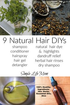 9 Natural Hair DIYs: shampoo, condition, hair spray, gel, dye and highlight, detanlger, dry shampoo and dandruff relief by Simple Life Mom Natural Hair Shampoo, Dyed Natural Hair, Dry Shampoo, Natural Hair Styles, Natural Beauty, Natural Haircare, Natural Makeup, Diy Hair Gel, Diy Hair Spray