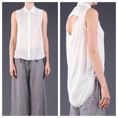 """Elizabeth and James Hammered Silk Misaki Top NEW Size M.  True to size loose fit.  Off white, 34"""" from shoulder to hem, studded embellishment at front, cut-out at back, extended back hem, front button closure.  Dry clean only.  100% silk.  No trades or PayPal. Elizabeth and James Tops Button Down Shirts"""