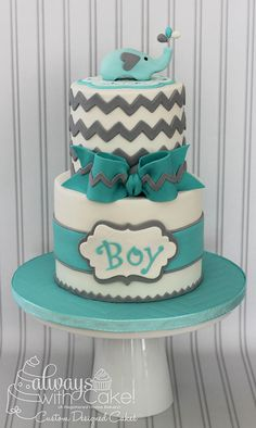 Chevron & Elephant Baby Shower Cake - Would change colors to Navy Blue and Lime Green