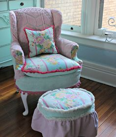 custom order Shabby Chic Slipcovered Wingback Chair in Vintage Sea foam Green and Pink Chenille by VintageChicFurniture on Etsy https://www.etsy.com/listing/172477652/custom-order-shabby-chic-slipcovered