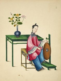 Chinese Woman with Antique Traditional Musical Instrument Daluo