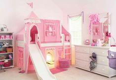 niñas habitacion castillo rosa cama ideas