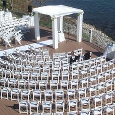 We love ceremonies on our patio. #palaisroyale #summer #wedding #wedspiration #lake #lakefront #chuppa #jewish #ido #engaged #love #tent #sunshine #vows