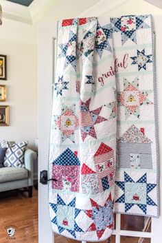The Let's Stay Home quilt pattern by Melissa Mortenson. A fun star and house quilt block pattern.