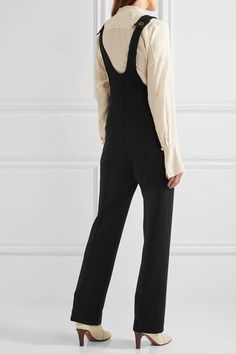 ba7e589582c Black wool-piqué Button-fastening shoulder straps