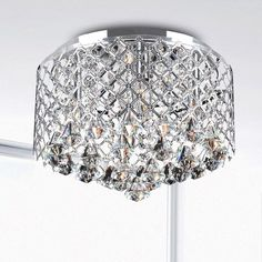 Nerisa Chrome Crystal Flush Mount Chandelier | Overstock.com Shopping - The Best Deals on Flush Mounts