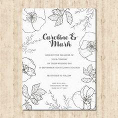 花の結婚式の招待状 無料ベクター