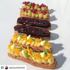 Éclairs from my one of my demonstrations today in Sydney with & From the top, pistachio & raspberry, chocolate and mango & coconut. Eclairs, Pasta Choux, Biscuits, Choux Pastry, Food Crush, Pastry Shop, Raspberry Chocolate, French Pastries, Dessert Drinks