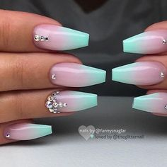 # Get inspired! on Mint Ombre with Crystals on Coffin Nails Nail Artist: fannysnaglar her for more gorgeous nail art designs! Summer Acrylic Nails, Cute Acrylic Nails, Acrylic Nail Designs, Nail Art Designs, Nail Crystal Designs, Mint Nail Designs, Coffin Nails Ombre, Summer French Nails, Coffin Nails Designs Summer