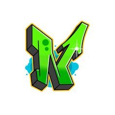Green colored N Graffiti Letter in semi-wildstyle Graffiti Letter N, Graffiti Alphabet Styles, Graffiti Lettering Fonts, Graffiti Piece, Graffiti Wall Art, Graffiti Drawing, Graffiti Artists, Wildstyle, Doodle Art