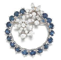 А Retro Sapphire and Diamond Brooch