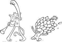 Kleurplaat Olympische spelen Rio 2016: mascotte Vinicius en Tom