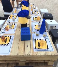 Guest tablescape from a Lego Police Birthday Party on Kara's Party Ideas | KarasPartyIdeas.com | Lego party ideas | Boy party ideas #legopartyideas #legoparty #beachparty #kidspartyideas #karaspartyideas