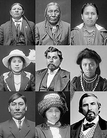 Portraits of Native Americans from the Cherokee, Cheyenne, Choctaw, Comanche, Iroquois, and Muscogee tribes in American attire. Photos date from 1868 to 1924